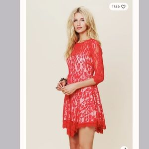 Free people floral mesh lace dress red size 2